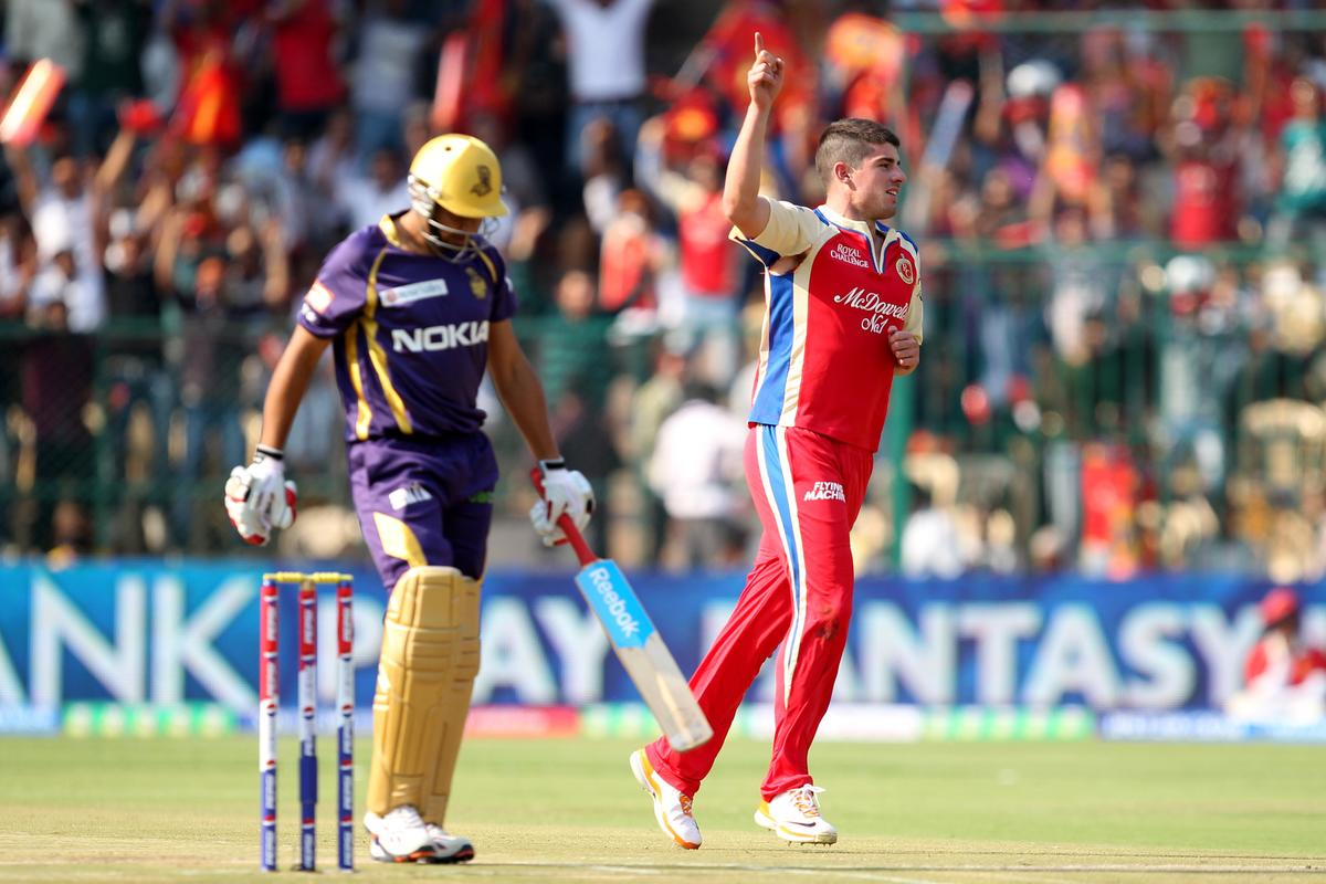 Moises Henriques celebrates wicket of Manvinder Bisla during match 12 of the Pepsi Indian Premier League between The Royal Challengers Bangalore and The Kolkata Knight Riders  held at the M. Chinnaswamy Stadium, Bengaluru  on the 11th April 2013Photo by Prashant Bhoot-IPL-SPORTZPICS Use of this image is subject to the terms and conditions as outlined by the BCCI. These terms can be found by following this link:https://ec.yimg.com/ec?url=http%3a%2f%2fwww.sportzpics.co.za%2fimage%2fI0000SoRagM2cIEc&t=1490711383&sig=TSoCtvFDXtXkfN4lQ0cEeA--~C