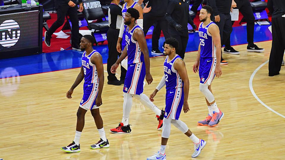 The Philadelphia 76ers walk off the floor after their loss to the Atlanta Hawks in game five of the Eastern Conference semi-finals.