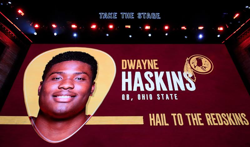 NASHVILLE, TENNESSEE - APRIL 25: A video board displays an image of Dwayne Haskins of Ohio State after he was chosen #15 overall by the Washington Redskins during the first round of the 2019 NFL Draft on April 25, 2019 in Nashville, Tennessee. (Photo by Andy Lyons/Getty Images)