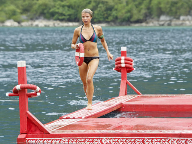 """Zipping Over the Cuckoo's Nest"" - Andrea Boehlke competes in the Immunity Challenge during the tenth episode of ""Survivor: Caramoan - Fans vs. Favorites."""