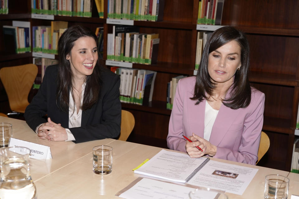 MADRID, SPAIN - MARCH 06: (L-R) Irene Montero and Queen Letizia of Spain attend a meeting With APRAMP Prostitution Women Association on March 06, 2020 in Madrid, Spain. (Photo by Europa Press Entertainment/Europa Press via Getty Images)