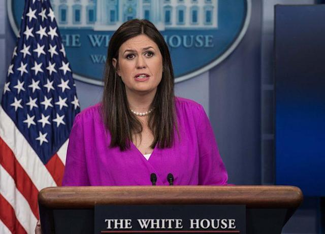Principal Deputy White House Press Secretary Sarah Huckabee Sanders always wears the same pearl necklace. (Photo: Nicholas Kamm/AFP/Getty Images)