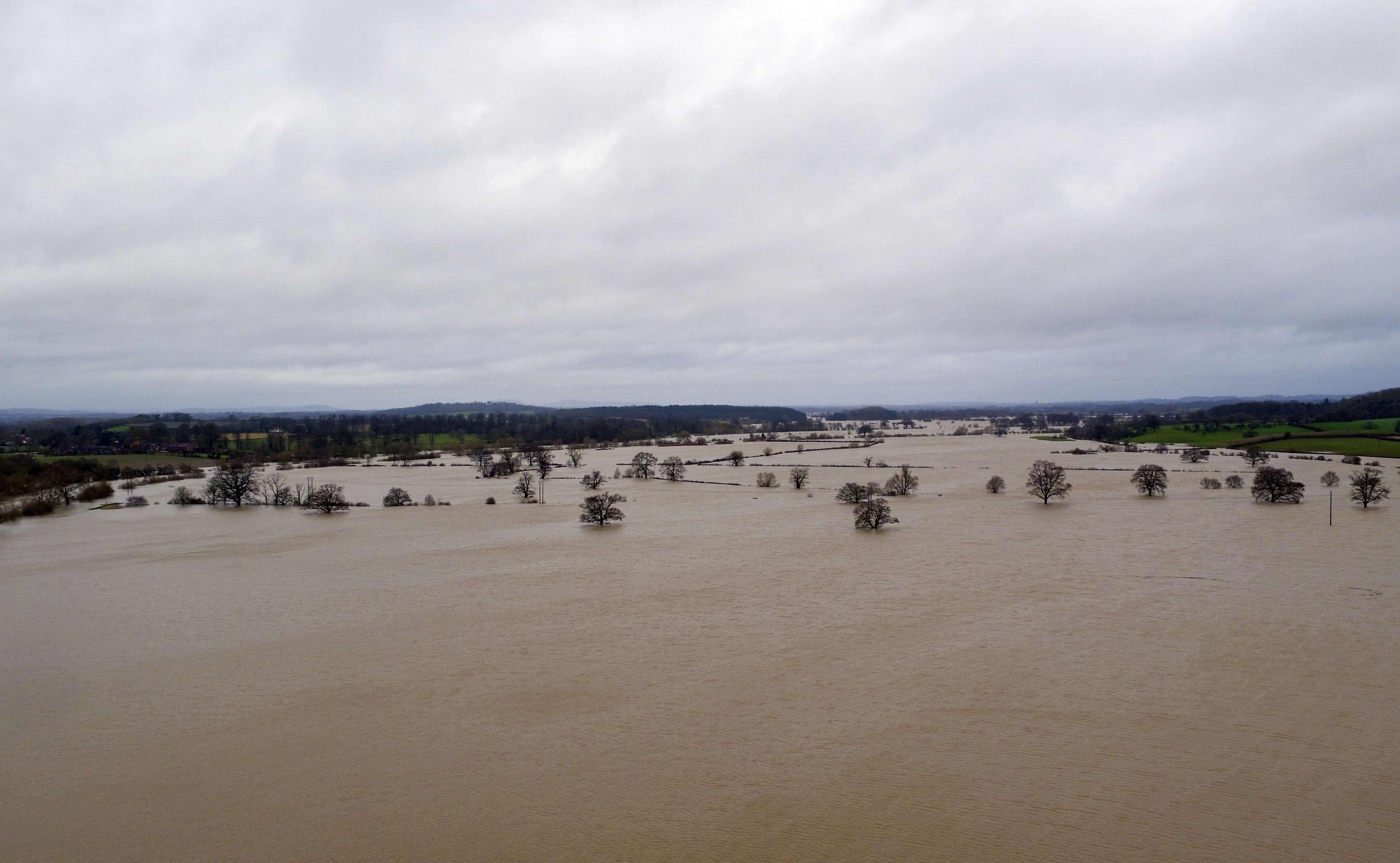 Flood water continues to surround Upton-upon-Severn, Worcestershire, in the aftermath of Storm Dennis.