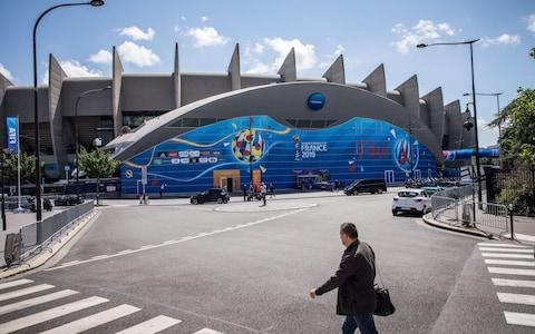 An exterior view of the Parc des Princes stadium a day before the opening match of the FIFA Women's World Cup 2019 in Paris, France - Credit: REX