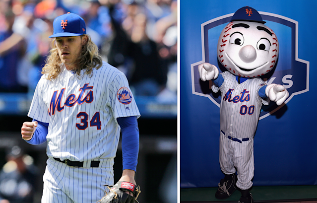 Noah Syndergaard vs. Mr. Met is the best beef in baseball these days. (AP/Getty Images)