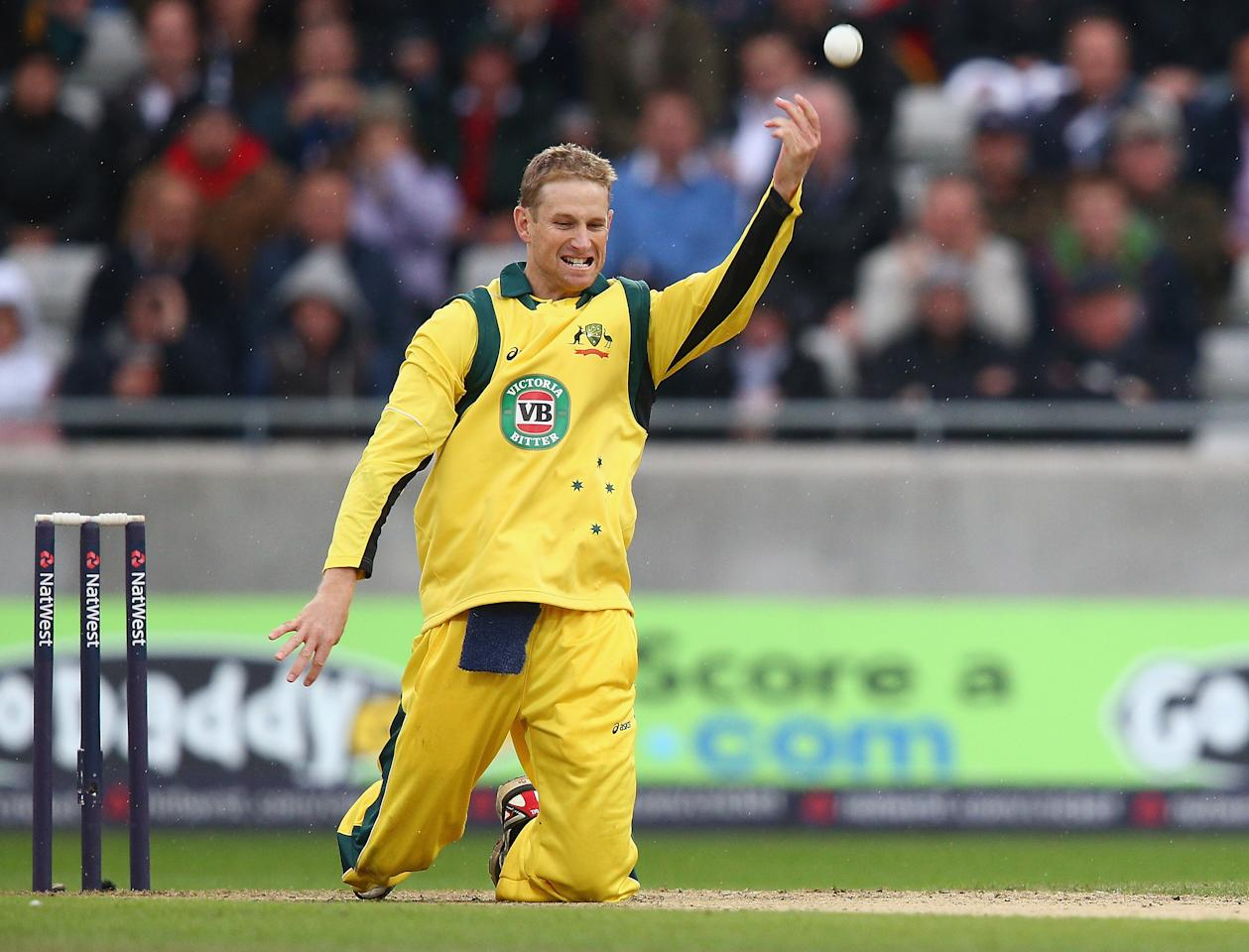 BIRMINGHAM, ENGLAND - SEPTEMBER 11:  Adam Voges of Australia celebrates dismissing Joe Root of England caught and bowled during the third NatWest One Day International Series match between England and Australia at Edgbaston on September 11, 2013 in Birmingham, England.  (Photo by Clive Mason/Getty Images)