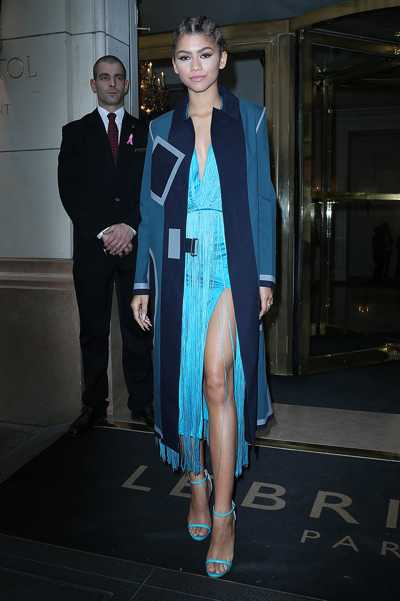 <p>I love everything about this sky blue fringe dress and geometric overcoat, worn at Paris Fashion Week.</p>