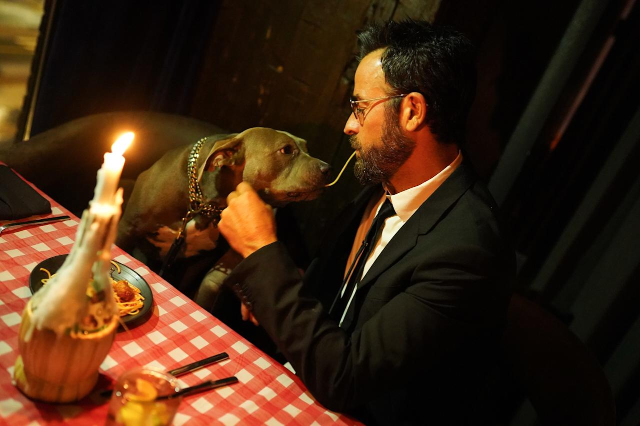 Justin Theroux and his dog attend the New York screening of <em>Lady and the Tramp</em> at iPic Theater in New York City on October 22, 2019.