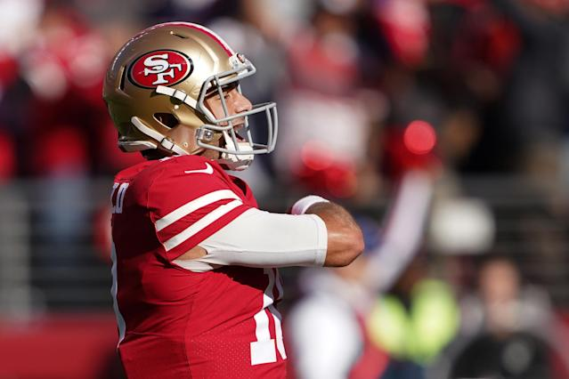 Watch Jimmy Garoppolo pancake Vikings LB Anthony Barr on a critical play
