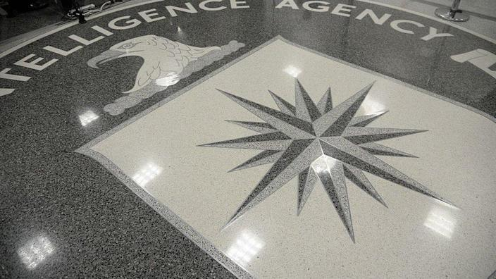 The logo of the CIA at agency headquarters