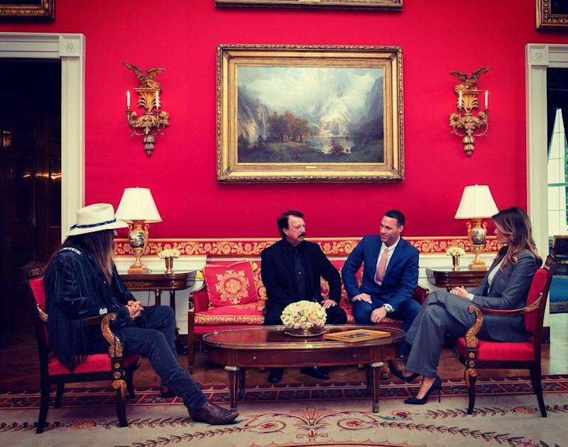 Billy Ray Cyrus, David Smith and Joshua Smith meet with First Lady Melania Trump. (Photo: FLOTUS/Twitter)