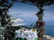 Laze back on a bougainvillea-wreathed balcony, cantilevered over the sparkling blue sea; or soak up the rays at the beach club, carved into the rock, with the Med swirling at your feet. Things don't get more quintessentially Amalfi than Santa Caterina, a florid Art Nouveau villa clinging to the cliffside just southwest of the village. The 66 rooms are as colorful as the coastline, pairing gauzy drapes with color-popping majolica floor tiles, brightly upholstered furniture, and even strong-hued bathrooms. Two stories below is the beach level, complete with sunlounger-strewn decks, a heated saltwater pool, and an outdoor restaurant. Main restaurant Glicine enjoys panoramic views and Michelin-starred food, while Al Mare, at the beach level, has a wood-fired oven for pizzas and fresh fish. Then there's Il Grottino bar, hewn from the cliff and strung with fairy lights, to ramp up the romance.