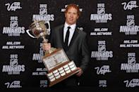 LAS VEGAS, NV - JUNE 20: Brian Campbell of the Florida Panthers poses after winning the Lady Byng Memorial Trophy during the 2012 NHL Awards at the Encore Theater at the Wynn Las Vegas on June 20, 2012 in Las Vegas, Nevada. (Photo by Bruce Bennett/Getty Images)