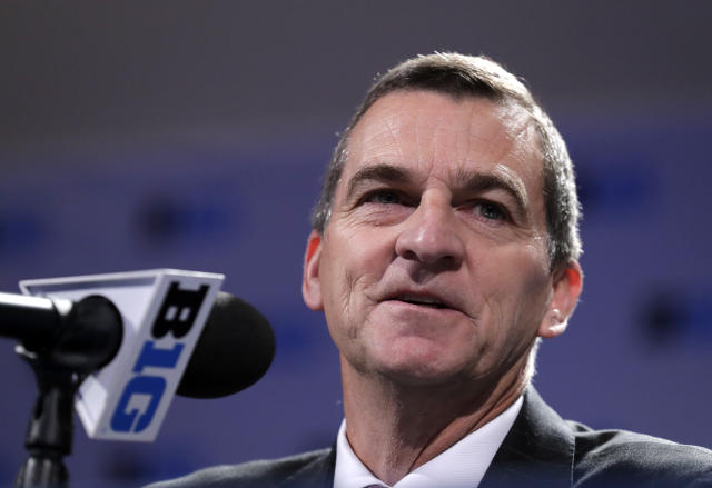 Maryland head coach Mark Turgeon smiles as he speaks at a press conference during Big Ten NCAA college basketball media day Thursday, Oct. 11, 2018, in Rosemont, Ill. (AP Photo/Nam Y. Huh)