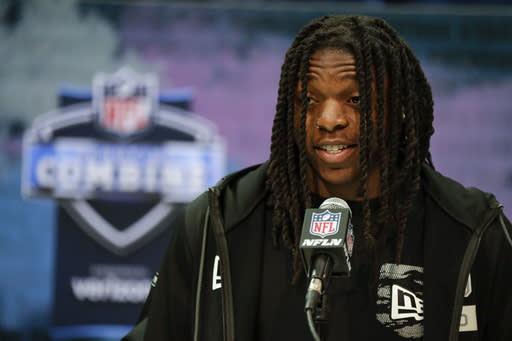 Colorado wide receiver Laviska Shenault Jr. speaks during a press conference at the NFL football scouting combine in Indianapolis, Tuesday, Feb. 25, 2020. (AP Photo/Michael Conroy)