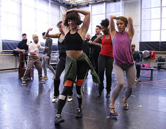 <p>Vanessa Hudgens is going back to her roots. The actress, who got her start in <em>High School Musical</em>, was pictured flexing her dance muscles at a rehearsal for a new production of <em>In the Heights</em> on Tuesday in New York City. The 29-year-old is playing the role of Vanessa in the show, which will run from March 21-25 in Washington, D.C. (Photo: Walter McBride/Getty Images) </p>