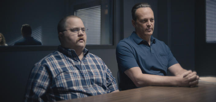 Queenpins is a crime comedy starring Paul Walter Hauser (left) as Ken Miller and Vince Vaughn as Simon Kilmurry. (Photo: Courtesy of STX Films)