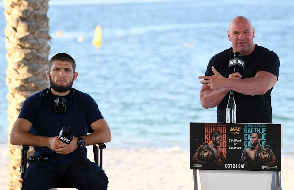 Dana White and Khabib Nurmagomedov on the beach.