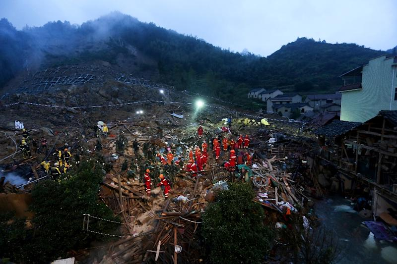 China has deployed more than 2,000 rescue workers and 60 digging machines to search for the victims after the landslide in Lishui, Zhejiang province