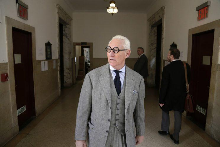 Roger Stone, a longtime political provocateur and adviser to President Trump, leaves a courtroom in New York on March 30. (Photo: Seth Wenig/AP)
