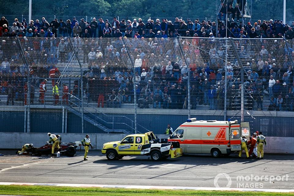 """Lausitzring, Sept. 15, 2001. The absence of the front of Zanardi's car tells its own grim tale.<span class=""""copyright"""">Motorsport Images</span>"""