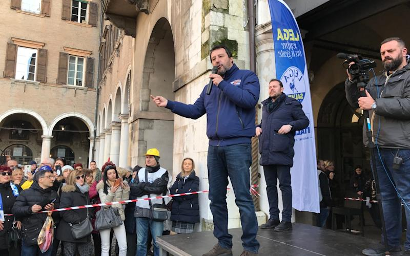 Matteo Salvini addressing supporters in Modena, Italy