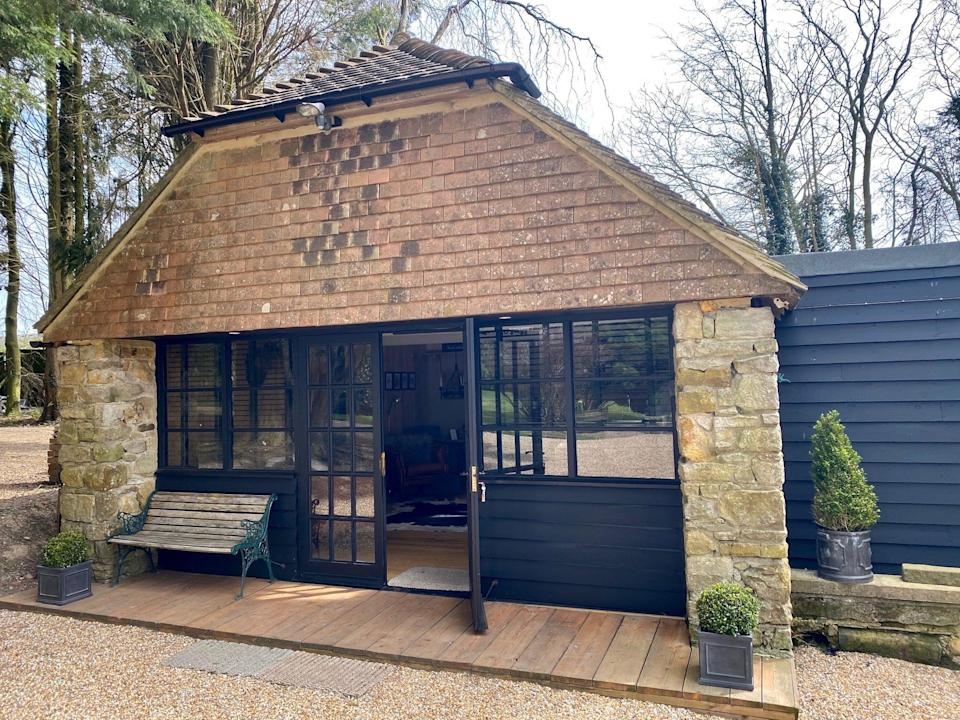 """<strong><a href=""""https://www.airbnb.co.uk/rooms/39835630"""" rel=""""nofollow noopener"""" target=""""_blank"""" data-ylk=""""slk:The Lodge, Heathfield"""" class=""""link rapid-noclick-resp"""">The Lodge, Heathfield </a></strong><br><br>Set in the grounds of a 17th century Sussex farmhouse, this cosy lodge has stunning views of the South Downs and access to a private tennis court. <br><br><em>From £115 per night</em>"""