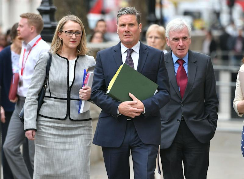 (left to right) Rebecca Long-Bailey, shadow Brexit Secretary Sir Keir Starmer, shadow Chancellor of the Exchequer John McDonnell arriving at the Cabinet Office in Westminster for Brexit talks. (Photo: PA Wire/PA Images)