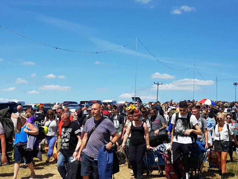 Long wait: Festival-goers have been subjected to delays getting into the Isle of Wight festival: @alexacj6