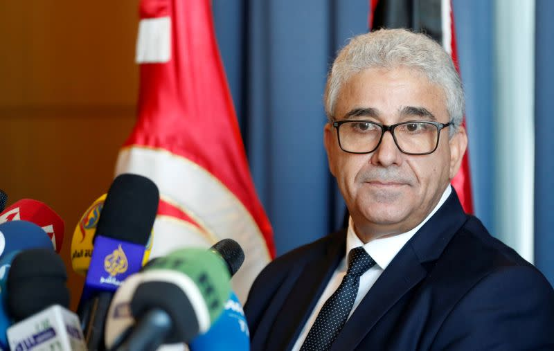 Libyan Interior Minister Fathi Bashagha speaks during a news conference in Tunis