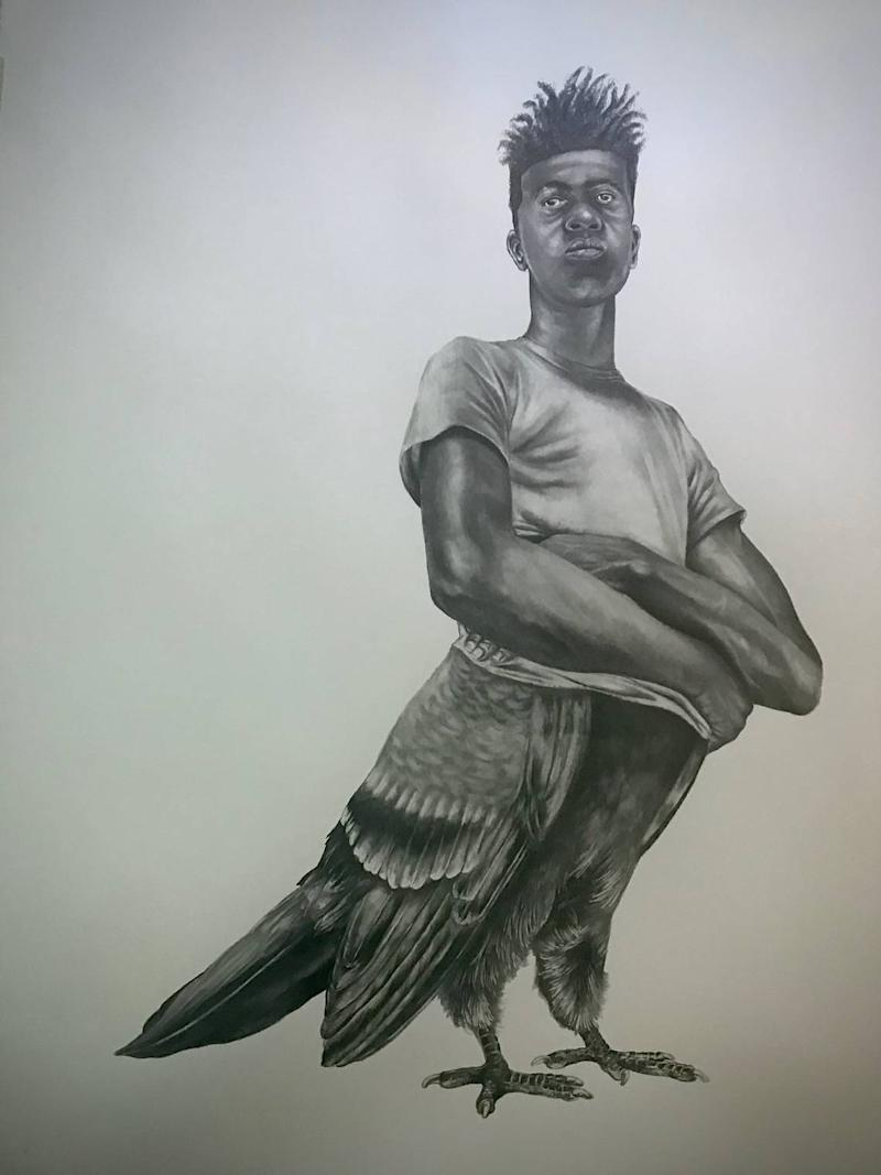 N'Namdi Contemporary Fine Arts exhibits drawings by Rashaun Rucker that use the rock pigeon to reflect stereotypes of Black men.