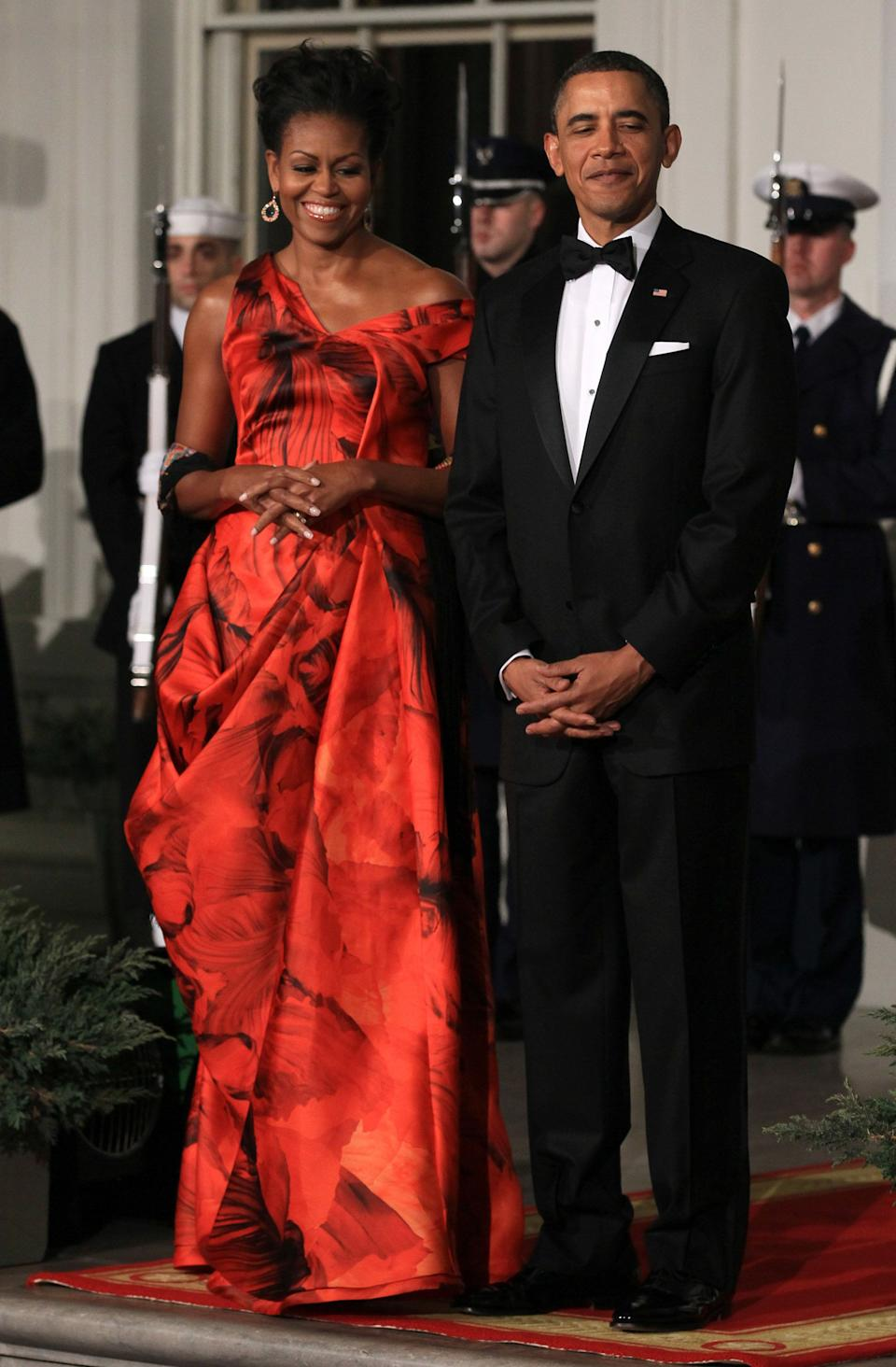 At a state dinner at the White House.