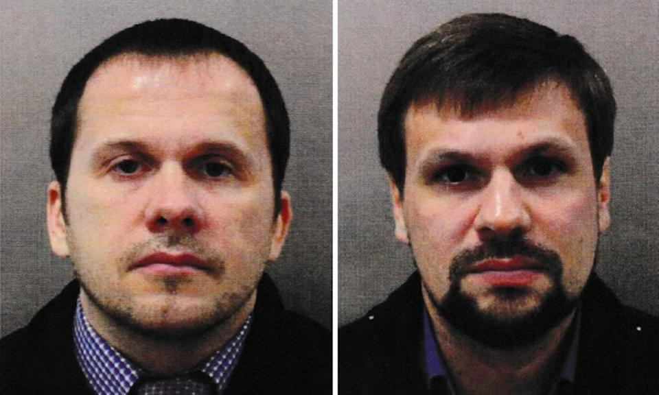 Photographs from the Metropolitan police of Alexander Petrov (left) and Ruslan Boshirov, who have previously been charged over the Wiltshire poisonings.