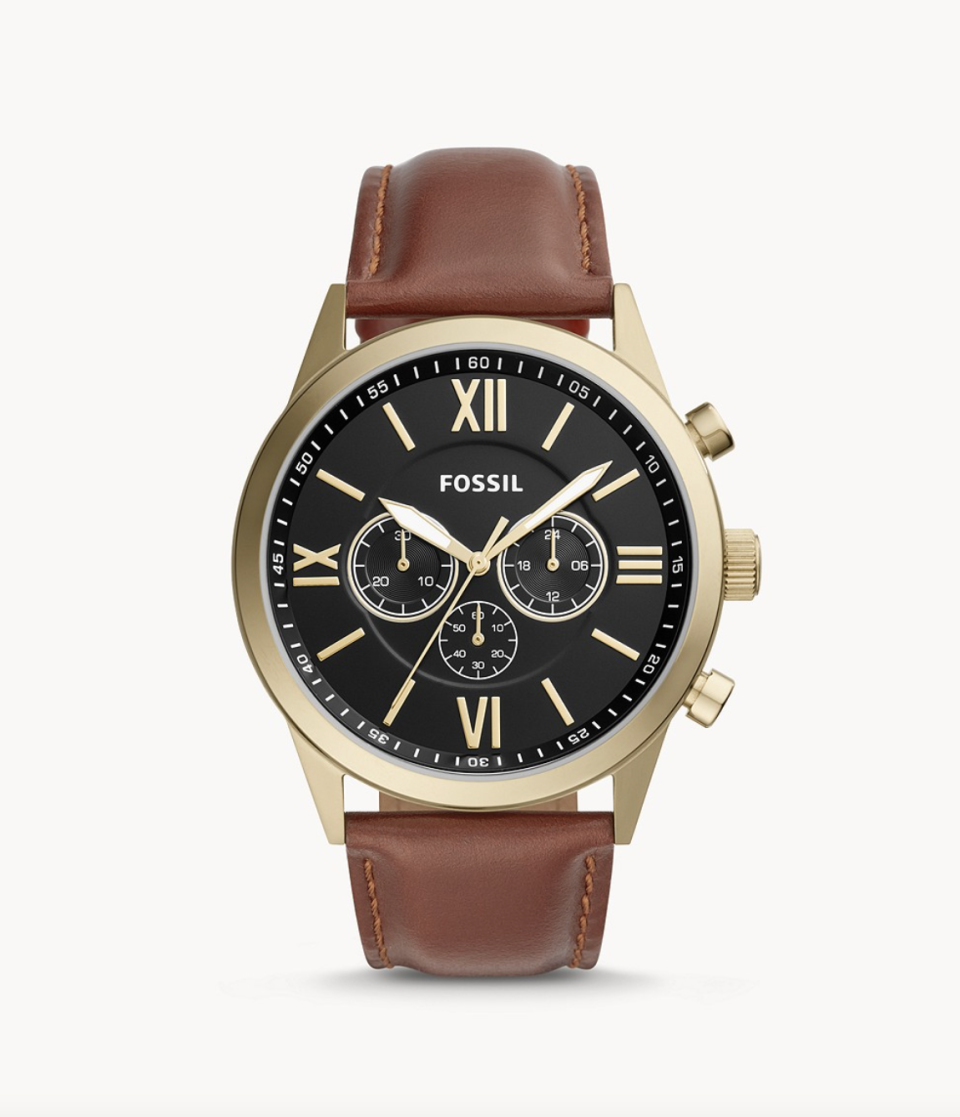 Fossil Flynn Chronograph Brown Leather Watch (Photo via Fossil)