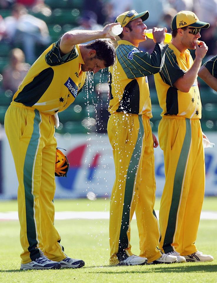 Michael Kasprowicz of Australia cools off in the drinks break during the NatWest Series One Day International between Australia and Bangladesh played at Sophia Gardens on June 18, 2005 in Cardiff, United Kingdom (Photo by Hamish Blair/Getty Images)