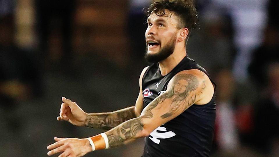 Carlton recruit Zac Williams has been criticised for an unnecessary bump which has cost him a one game ban. (Photo by Michael Willson/AFL Photos via Getty Images)