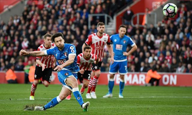 "<span class=""element-image__caption"">Harry Arter's spot-kick flies skywards after the Bournemouth midfielder loses his footing during his run-up.</span> <span class=""element-image__credit"">Photograph: Dylan Martinez/Reuters</span>"