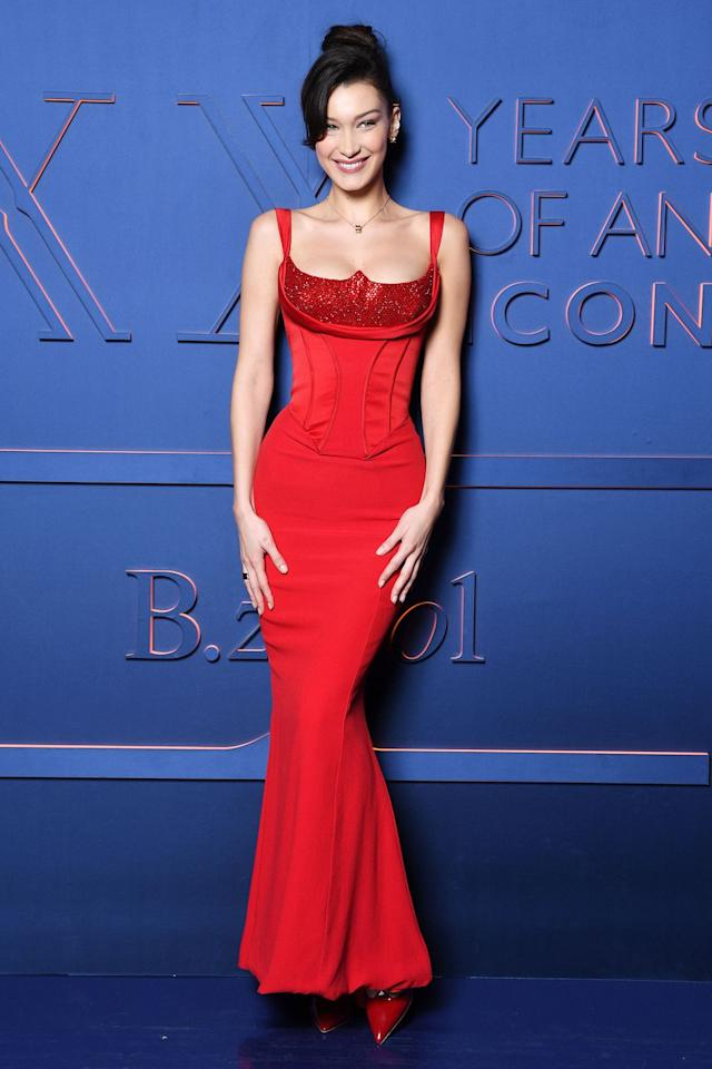 "<p><strong>19 February </strong>Bella Hadid wore a <a rel=""nofollow"" href=""https://www.harpersbazaar.com/uk/celebrities/red-carpet/a26420583/bella-hadid-red-corset-dress-rome/"">structured red Versace dress to a Bulgari event in Rome</a>. </p><p><a rel=""nofollow"" href=""https://www.harpersbazaar.com/uk/celebrities/red-carpet/a26420583/bella-hadid-red-corset-dress-rome/"">See more pictures</a></p>"