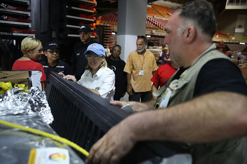 Chef José Andrés is seen preparing a truck of relief supplies with San Juan Mayor Carmen Yulín Cruzin the aftermath of Hurricane Maria. (Joe Raedle/Getty Images)
