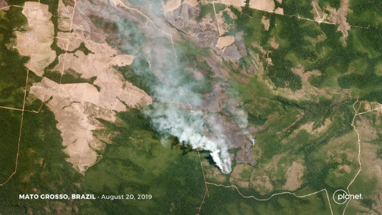 This satellite picture from Planet Labs, Inc shows smoke from fires in Brazil's Mato Grosso state (AFP Photo/Handout)