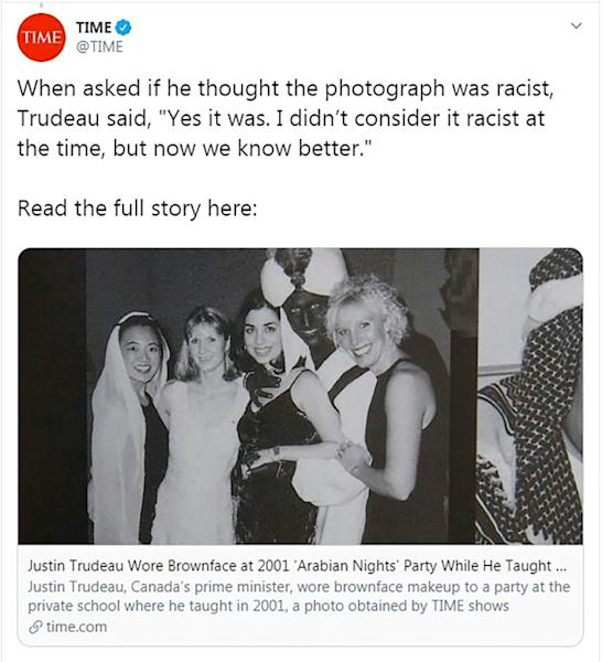 This handout image obtained September 19, 2019, courtesy of Time magazine, off the Time Twitter feed shows Canada's Prime Minister Justin Trudeau wearing brown face at a party in 2001.Canada's Prime Minister Justin Trudeau apologized September 18, 2019 for wearing brownface makeup at a party 18 years ago, as he scrambled to get on top of a fresh blow to a re-election campaign dogged by controversy. Time magazine published the photograph one week into a federal election campaign with Trudeau's Liberal Party in a tight contest against the Conservatives led by Andrew Scheer. Trudeau, 47, whose party won a landslide victory in 2015, has already been under attack for an ethics lapse and other controversies.The black-and-white photograph shows Trudeau, then 29, wearing a turban and robes with his face, neck and hands darkened at the gala in 2001.The picture appears in the 2000-2001 yearbook of West Point Grey Academy, a private school where Trudeau taught at the time, the US-based Time magazine said. (AFP Photo/HO)