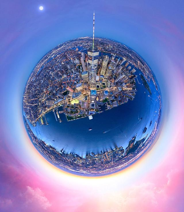 "<p>Andrew photographed the city in May 2017, and to shoot the likes of his planet-shaped works the photographer used a specially designed camera setup he calls ""The Beast."" (Photo: Andrew Griffiths/Lensaloft/Caters) </p>"
