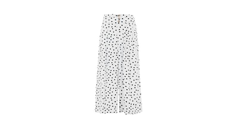 Polka Dot Wide Leg Cropped Trousers