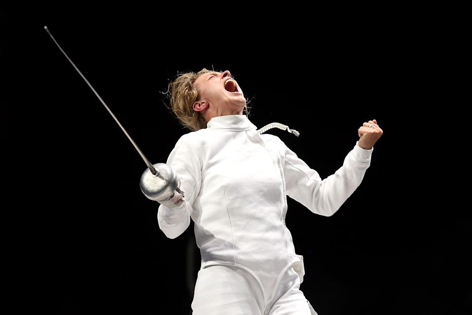 LONDON, ENGLAND - JULY 30: Britta Heidemann of Germany celebrates defeating A Lam Shin of Korea during the Women's Epee Individual Fencing Semifinals on Day 3 of the London 2012 Olympic Games at ExCeL on July 30, 2012 in London, England. Heidemann scored the final point with one second left on the clock to win against Shin. (Photo by Ezra Shaw/Getty Images)