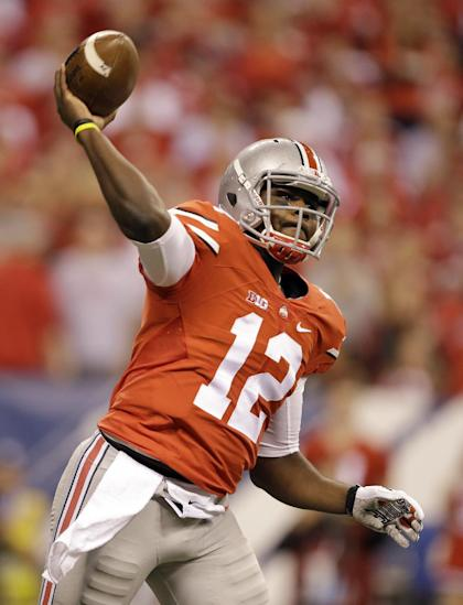 Ohio State quarterback Cardale Jones throws during Big Ten Conference championship NCAA college football game against Wisconsin in Indianapolis. (AP Photo/Darron Cummings, File)