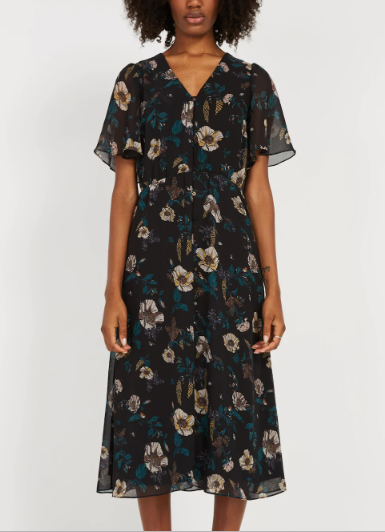 Chiffon Bell Sleeve Dress in Black Floral