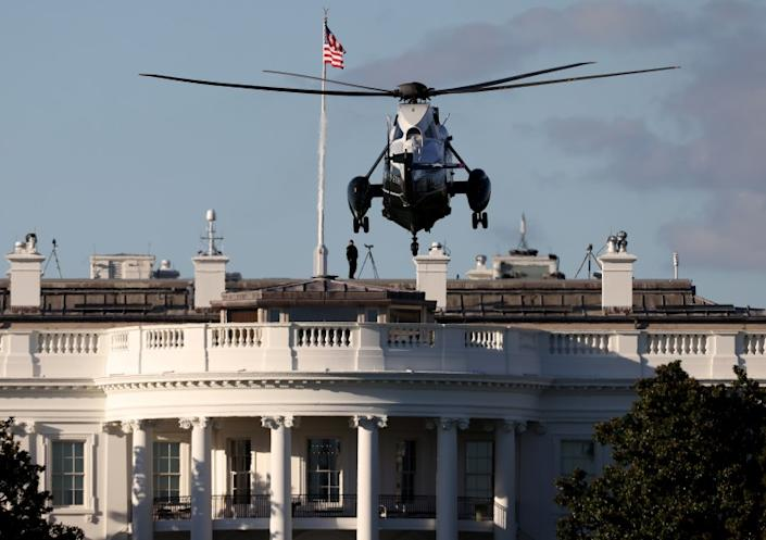 WASHINGTON, DC - OCTOBER 02: Marine One, the presidential helicopter, arrives at the White House to carry U.S. President Donald Trump to Walter Reed National Military Medical Center October 2, 2020 in Washington, DC. Trump announced earlier today via Twitter that he and U.S. first lady Melania Trump have tested positive for coronavirus. (Photo by Win McNamee/Getty Images)