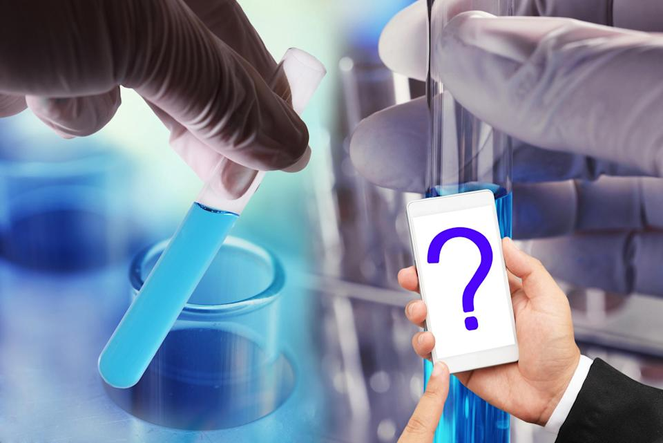 Hands holding test tubes with another pair of hands holding a white phone with a question mark on the screen
