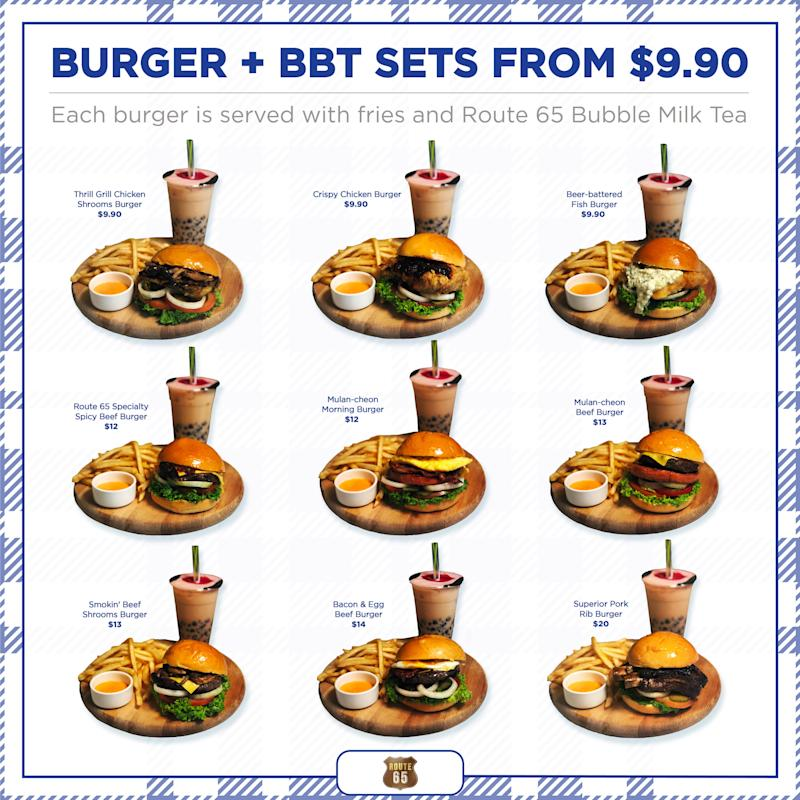 Route 65 burger combos. (PHOTO: Route 65)