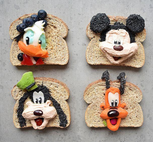 PHOTO: Donald, Goofy, Mickey and Pluto inspired Laleh Mohmedi's fun take on a healthier lunch with fruit, veggies and hummus. (Courtesy Jacob's Food Diaries)